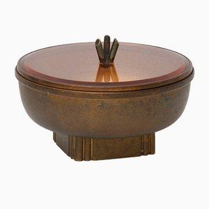 Vergoldete runde Metall Box, 1940er