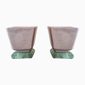 Lámparas de mesa Mortier Art Déco vintage de cerámica y vidrio de Saint Gobain. Juego de 2