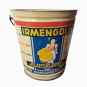 Sceau Irmengold Margarine Vintage en Etain, 1950s