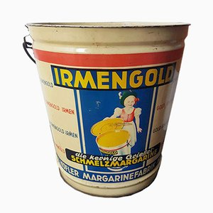 Secchio vintage in stagno con pubblicità Irmengold, anni '50