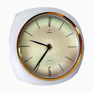 Horloge Murale Vintage Blanche et en Laiton de Junghans