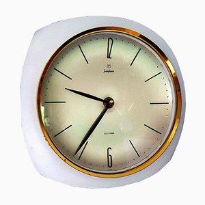 Orologio da parete vintage in ottone e bianco di Junghans