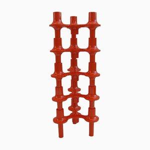 Portacandele modulari arancioni di Fritz Nagel per Sonti, anni '70, set di 5