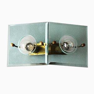 Applique vintage in ottone e vetro di Arredoluce, Italia