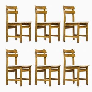 Schwedische Eichenholz Stühle, 1960er, 6er Set