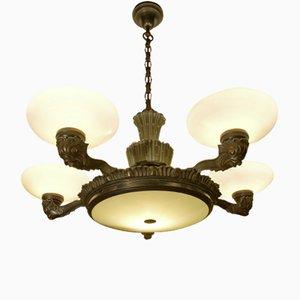 Lámpara de araña de porcelana y bronce, años 10