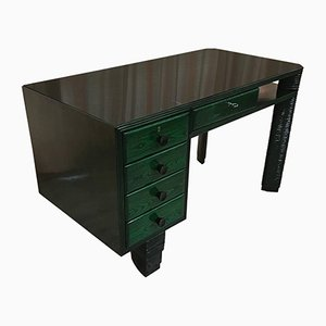 Italian Art Deco Aniline Oak Desk, 1930s