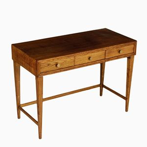 Vintage Italian Oak Veneer Writing Desk, 1950s