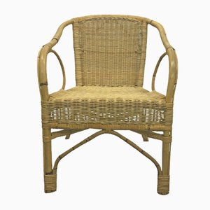 French Bamboo & Rattan Armchair, 1960s