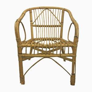Französische vintage Bambus Armlehnstühle, 4er Set