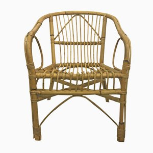 Vintage French Bamboo Armchairs, Set of 4