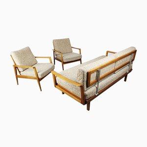 Poltronas y sofá cama Antimott en marrón y beige de Wilhelm Knoll, años 50