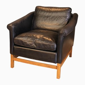 Beech & Black Leather Chair from Stouby, 1970s
