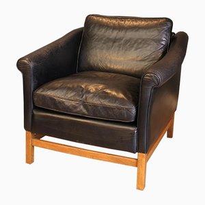 Chaise en Hêtre et Cuir Noir de Stouby, 1970s