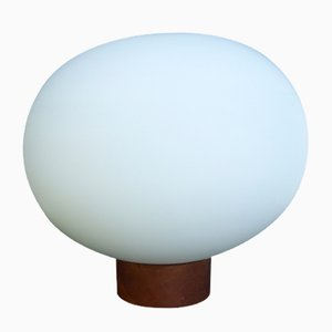 Large Mid-Century Danish Table or Ceiling Lamp in Teak & Satinated Milk Glass by Uno & Östen Kristiansson for Luxus