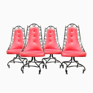 Vintage Hollywood Regency Swivel Dining Chairs, Set of 4