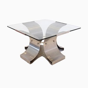 Mesa de centro de vidrio y hierro cepillado de Boyer, años 70
