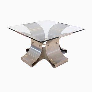Tavolino da caffè in ferro spazzolato e vetro di Boyer, anni '70