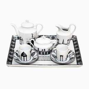 Tete-a-tete Ceramic Coffee Service by Barnaba Fornasetti for Richard Ginori, 1980s
