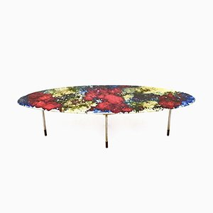 Tavolino da caffè in ceramica laccata multicolore di Stil Keramos, anni '60