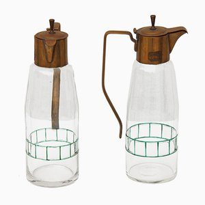Glass & Brass Carafes, 1920s, Set of 2