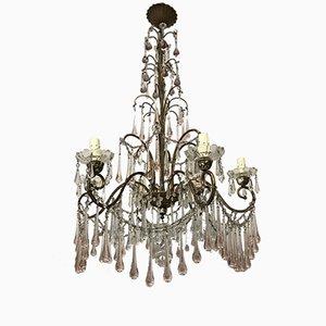 Lámpara de araña antigua con cuentas de cristal de Murano