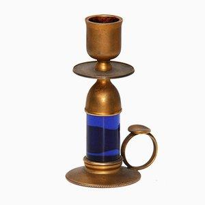 Blue Glass & Brass Candlestick from Fontana Arte, 1950s