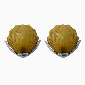 British Art Deco Chromed Wall Lights from Falks, Set of 2