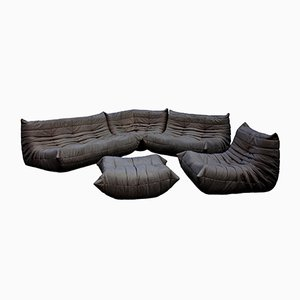 Leather Togo Sofa Set by Michel Ducaroy for Ligne Roset, 1970s