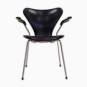 Butaca modelo 3207 serie 7 de cuero sintético de Arne Jacobsen para Fritz Hansen, 1967