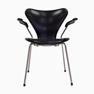 Model 3207 Series 7 Armchair in Faux Leather by Arne Jacobsen for Fritz Hansen, 1967
