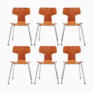Model 3103 Beech T Chairs by Arne Jacobsen for Fritz Hansen, 1981, Set of 6