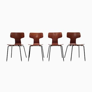 Model 3103 Teak Hammer Chairs by Arne Jacobsen for Fritz Hansen, 1960s, Set of 4