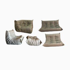 Graues Leder Togo Sofa Set von Michel Ducaroy für Ligne Roset, 1970er