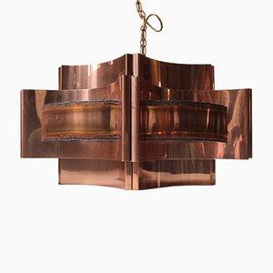 Lámpara colgante danesa de cobre de Svend Aage Holm Sørensen para Holm Sørensen & Co, años 60