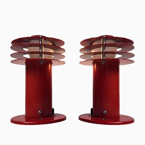 Red Wall Lights from ABO Metalkunst, 1970s, Set of 2