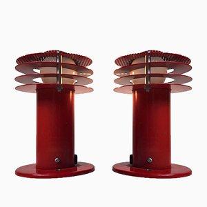 Rote Wandlampen von ABO Metallkunst, 1970er, 2er Set
