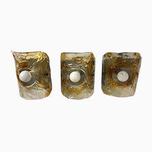 Apliques de pared de cristal de Murano de Mazzega. Juego de 3