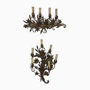 Vergoldete italienische Vintage Wandlampen, 2er Set