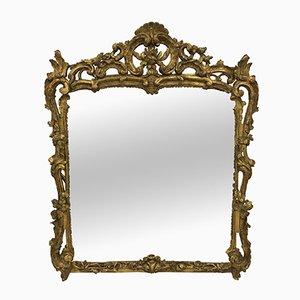 Antiker Louis XV Spiegel mit geschnitztem & vergoldetem Rahmen