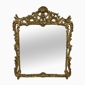 Antique Louis XV Mirror with Carved & Gilded Frame