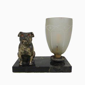 Vintage Tischlampe mit Bulldogge, 1940er
