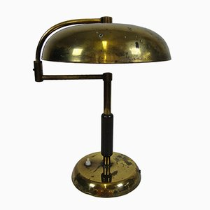 Italian Brass and Wood Table Lamp, 1940s