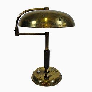 Lampe de Bureau en Laiton et Bois, Italie,1940s