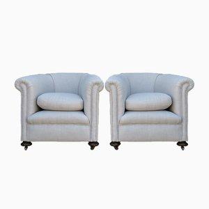 Antike Sessel mit Leinenbezug, 2er Set