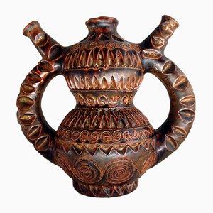 Mid-Century Scarified Vallauris Ceramic Container by Huguette & Marius Bessone