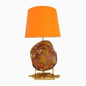 Lámpara de mesa de latón y madera petrificada, años 70