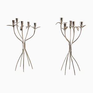 Metal Candlesticks by Boris Simek for Driade, 1980s, Set of 2