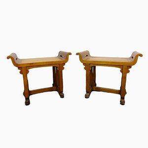 Vintage Italian Pearwood Benches, 1920s, Set of 2