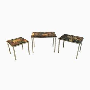 Tavolini a incastro in pietra e resina, anni '60